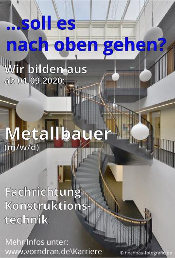 Wir suchen Auszubildende für 2020 - Metallbauer Fachrichtung Konstruktionstechnk m/w/d