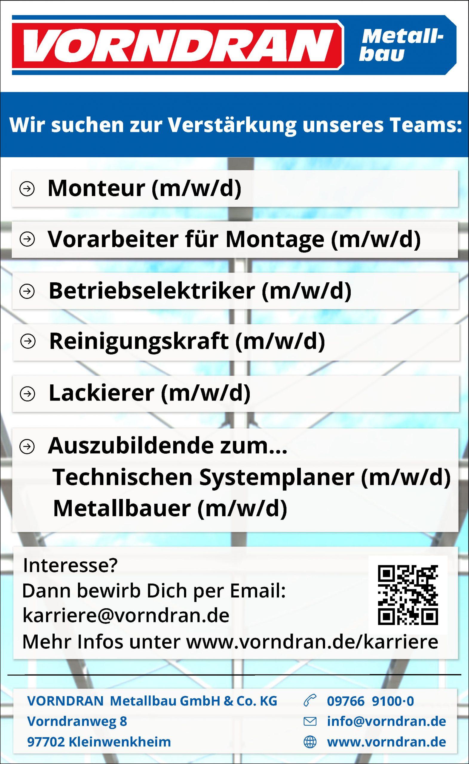 Stellenanzeige Monteur Vorarbeier Betriebselektiker Reinigungskraft Lackierer Azubi